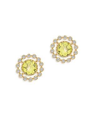 Bloomingdale's Peridot & Diamond Statement Stud Earrings In 14k Yellow Gold - 100% Exclusive