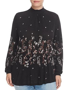 Lucky Brand Plus Mock Neck Floral Print Top