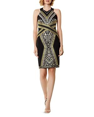 Karen Millen Metallic Embroidered Sheath Dress