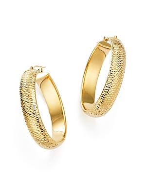 14k Yellow Gold Medium Tube Hoop Earrings