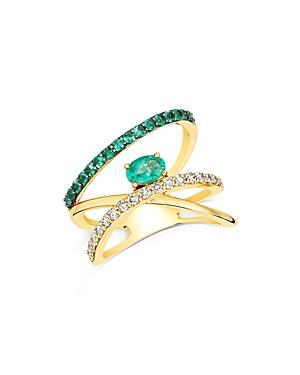 Emerald And Diamond Asymmetrical Ring