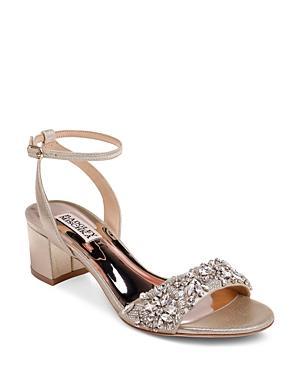 Badgley Mischka Women's Ivanna Crystal Embellished Block Heel Sandals