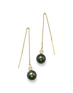 Bloomingdale's Dyed Black Cultured Freshwater Pearl & Diamond Threader Earrings In 14k Yellow Gold - 100% Exclusive