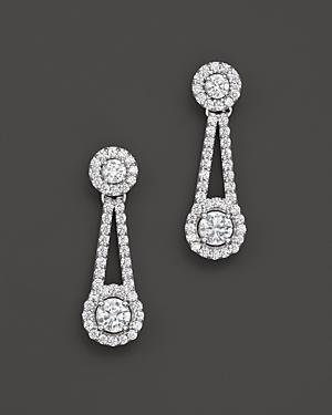 Diamond Drop Earrings In 14k White Gold, 1.50 Ct. T.w.