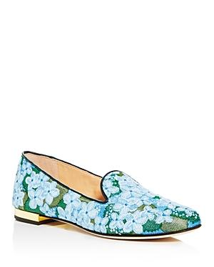 Charlotte Olympia Women's Floral Embroidered Smoking Slippers