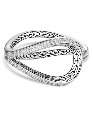 John Hardy Sterling Silver Asli Classic Chain Cuff With Diamonds