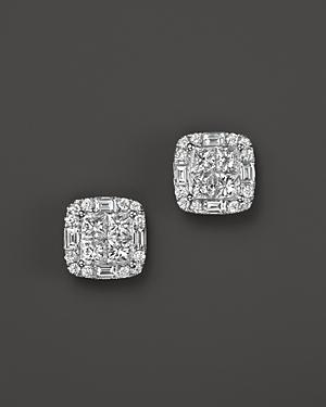 Diamond Princess Cut Stud Earrings In 14k White Gold, 1.50 Ct. T.w.