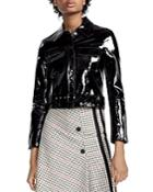 Maje Bliza Cropped Patent Leather Jacket