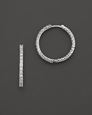 Roberto Coin 18 Kt. White Gold/diamond Hoop Earrings, 30 Mm