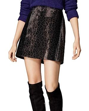 Karen Millen Leopard Print Faux Fur Mini Skirt