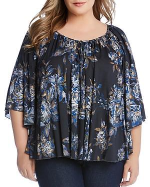 Karen Kane Plus Floral-print Flutter-sleeve Top
