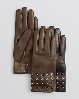 Bloomingdale's Studded Leather Gloves