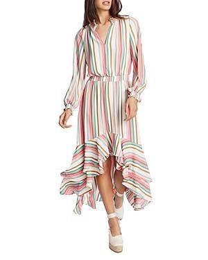 1.state Multi Striped Ruffled Midi Dress