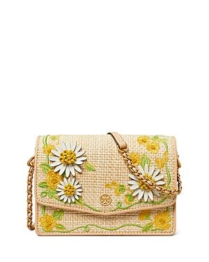 Tory Burch Robinson Mini Embroidered Straw Shoulder Bag