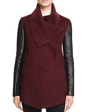 Mackage Vane Draped Wrap Leather-sleeve Coat