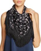 Tory Burch Stamped Floral Fringed Silk Scarf