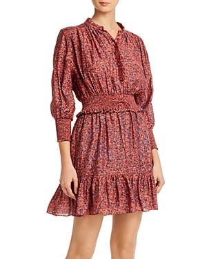 Rebecca Minkoff Chloe Smocked Printed Mini Dress