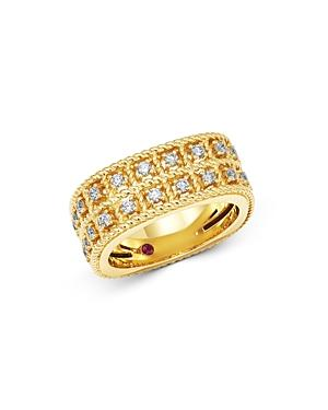 Roberto Coin 18k Yellow Gold Byzantine Barocco Diamond Two-row Ring