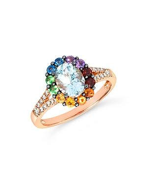Bloomingdale's Multi Gemstone & Champagne Diamond Statement Ring In 14k Rose Gold - 100% Exclusive