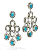 John Hardy Sterling Silver And 18k Bonded Gold Dot Chandelier Earrings With Turquoise - 100% Exclusive