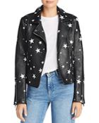 Aqua Star Print Faux Leather Moto Jacket - 100% Exclusive