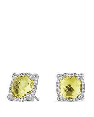 David Yurman Chatelaine Pave Bezel Stud Earrings With Lemon Citrine And Diamonds