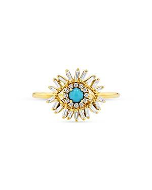 Suzanne Kalan 18k Yellow Gold Turquoise & Diamond Evil Eye Ring