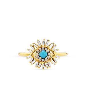 Suzanne Kalan 18k Yellow Gold Turquoise & Diamond Evil Eye Ring