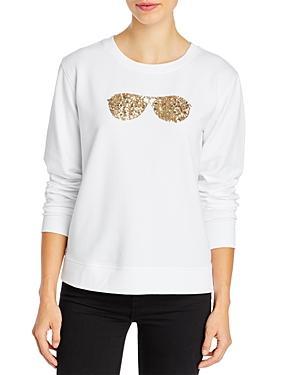 Karl Lagerfeld Paris Sequin Sunglasses Crewneck Sweatshirt
