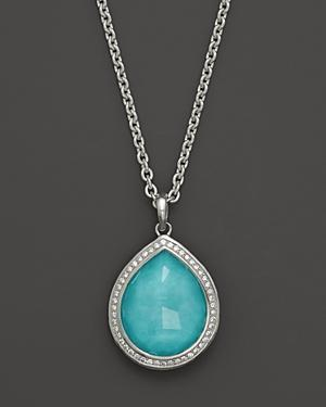 Ippolita Sterling Silver Stella Teardrop Pendant Necklace In Turquoise Doublet With Diamonds, 16