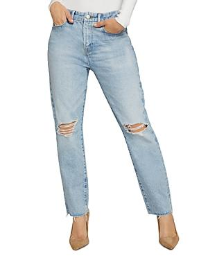Good American Good Girlfriend Distressed Jeans In Blue637