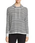 Eileen Fisher Striped Drawstring Funnel Neck Sweater