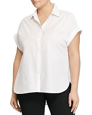 Lauren Ralph Lauren Plus Cap Sleeve Button Down Shirt