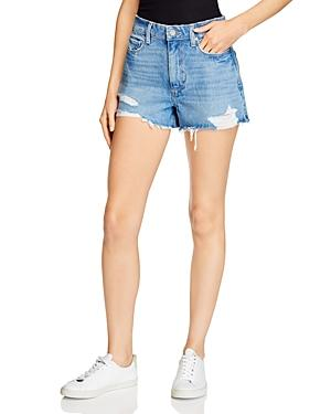Paige Margot Distressed Raw Hem Denim Shorts