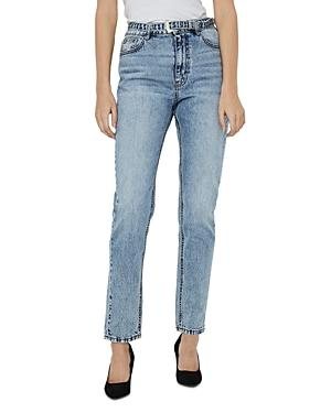 Vero Moda Joanna Belted Tapered Jeans In Light Blue