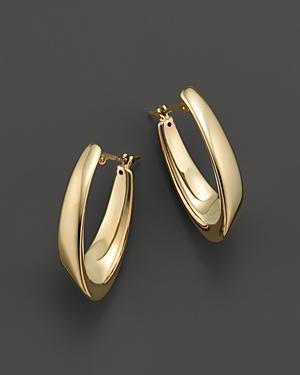 14k Yellow Gold Medium Visor Hoop Earrings