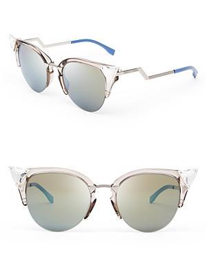 Fendi Crystal Embellished Mirrored Cat Eye Sunglasses, 50mm