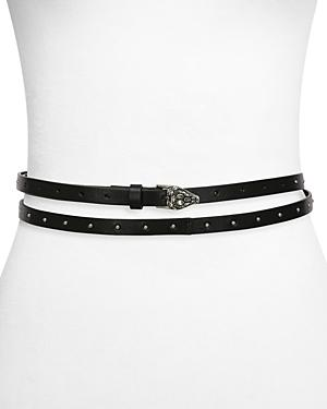 The Kooples Women's Thin Embossed Leather Double Belt