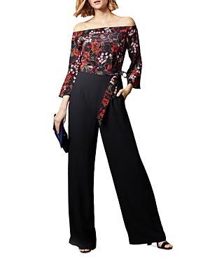 Karen Millen Floral Detail Off-the-shoulder Jumpsuit