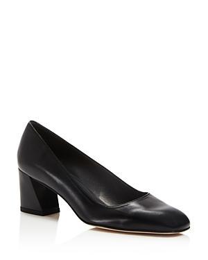 Stuart Weitzman Marymid Leather Block Heel Pumps