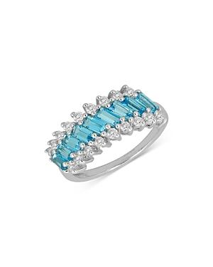 Bloomingdale's Swiss Blue Topaz & Diamond Band In 14k White Gold - 100% Exclusive