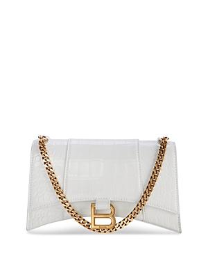 Balenciaga Hourglass Croc-embossed Mini Leather Wallet On A Chain