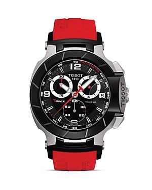 Tissot T-race Men's Black Quartz Chronograph Red Rubber Watch, 50mm