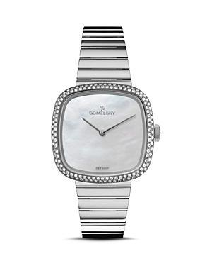 Shinola Gomelsky The Eppie Diamond Bezel Watch, 32mm X 32mm