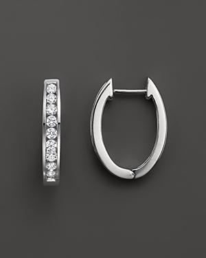 Diamond Channel Set Hoop Earrings In 14k White Gold, .45 Ct. T.w.