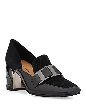 Donald Pliner Women's Square Toe Suede & Patent Leather Dress Pumps