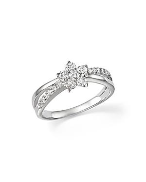 Diamond Flower Crossover Ring In 14k White Gold, .60 Ct. T.w. - 100% Exclusive