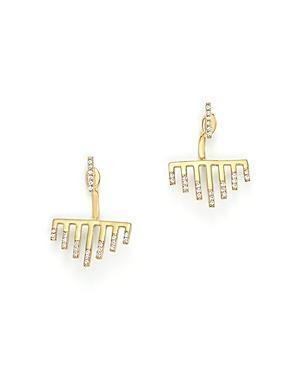 Mateo 14k Yellow Gold Bar Graph Earrings With Diamonds