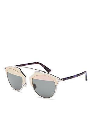 Dior So Real Mirrored Leather-trim Sunglasses, 48mm