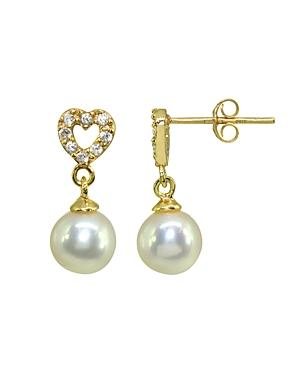 Aqua Cultured Freshwater Pearl & Pave Cubic Zirconia Heart Drop Earrings In 18k Gold-plated Sterling Silver - 100% Exclusive